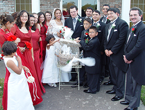 groom and bride releasing doves with bride's maids and groomsmen